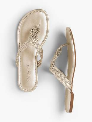 Talbots Cece Braided Thong Sandals - Faux Metallic Nappa