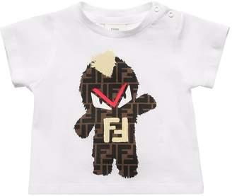 Fendi Monster Print Cotton Jersey T-Shirt