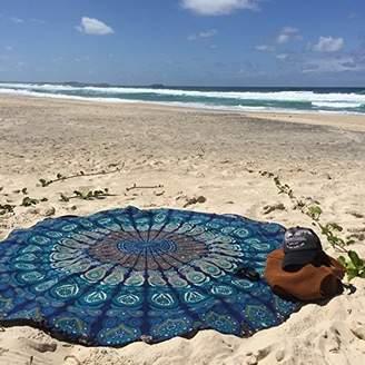 raajsee Round Circle Beach Tapestry hippie Blue/Boho Mandala Beach Blanket/Indian Cotton Bohemian Round Table cloth Mandala Decor/Yoga Mat Meditation Picnic Rugs 70 inch (BLUE MANDALA)