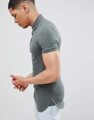 Asos DESIGN longline muscle polo with bound curved hem in green