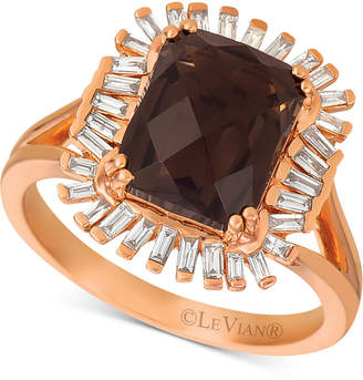 LeVian Le Vian Baguette Frenzy Chocolate Quartz (3-1/10 ct. t.w.) and Vanilla Diamond (1/3 ct. t.w.) Ring set in 14k Rose Gold