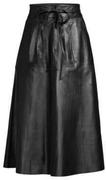 Polo Ralph Lauren Women's Kinsley Leather Skirt - Black - Size 4
