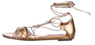 Ralph Lauren Purple Label Leather Wrap-Around Sandals