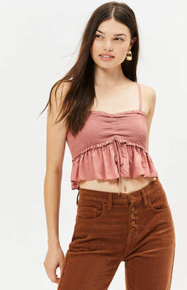 LA Hearts Ruffle Smocked Crop Top