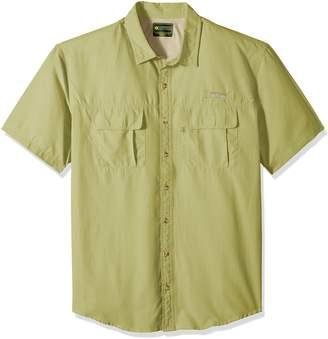 G.H. Bass & Co. Men's Big and Tall Explorer Short Sleeve Point Collar Fishing Shirt, 4X-Large Big, Silver Birch