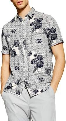 Topman Rose Tile Print Slim Fit Shirt