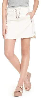 Blank NYC BLANKNYC Neutral Ground Lace-Up Denim Miniskirt