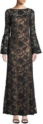 Tadashi Shoji Bell-Sleeve Velvet & Sheer Lace Gown