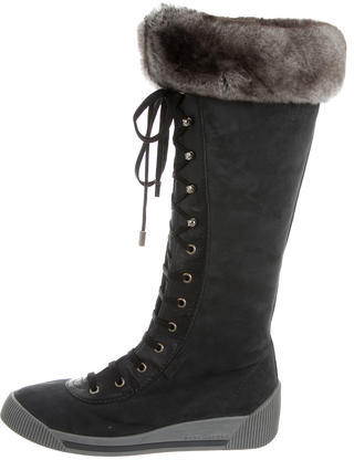 Marc JacobsMarc Jacobs Chinchilla-Trimmed Lace-Up Boots
