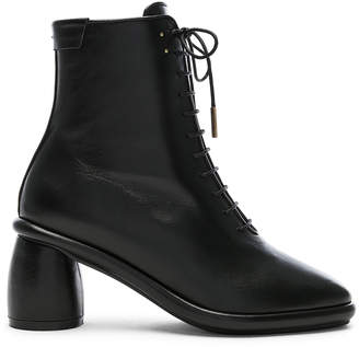 Reike Nen Leather Plain Middle Lace Up Boots