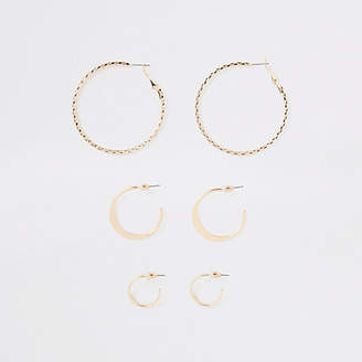 River Island Gold tone mixed size hoop earrings pack