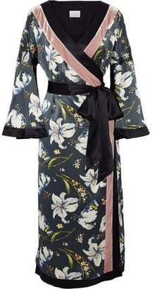 Cinq à Sept Velvet-Trimmed Floral-Print Silk Midi Wrap Dress