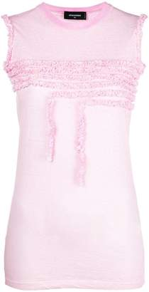 DSQUARED2 frill-embroidered tank top