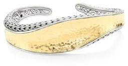 John Hardy Classic Chain Hammered 18K Gold& Silver Cuff