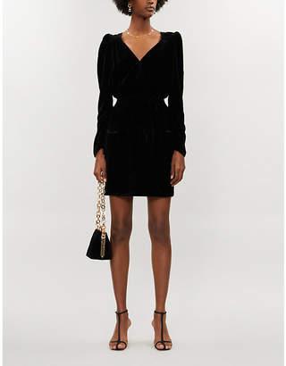 Designers Remix Sable puffed-sleeve velvet mini dress