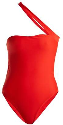 Halo One Shoulder Swimsuit - Womens - Red