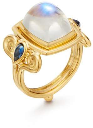Temple St. Clair 18K Yellow Gold Blue Moonstone & Sapphire Classic Arabesque Ring