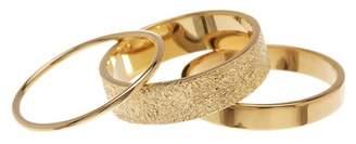 Sterling Forever 14K Gold Vermeil Textured Stack Rings Set