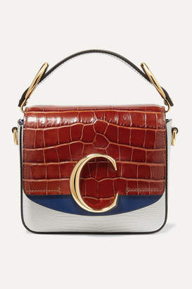 Chloé C Croc-effect And Lizard-effect Leather Shoulder Bag - Blue