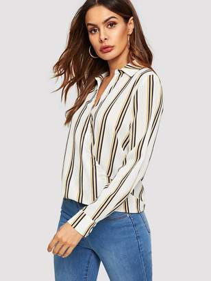 Shein Buttoned Front Surplice Wrap Striped Top