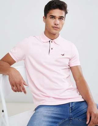 Hollister solid core polo seagull logo slim fit in light pink