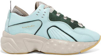Acne Studios Manhattan Leather, Suede And Mesh Sneakers - Green