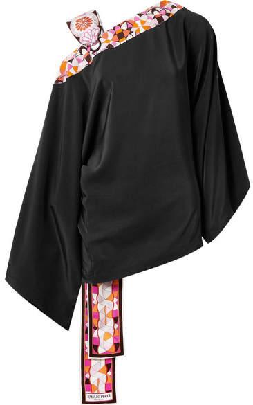 Emilio Pucci - Printed Satin Twill-trimmed Silk Crepe De Chine Blouse - Black