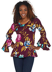 Susan Graver Printed Brushed Liquid Knit Fit &Flare Tunic