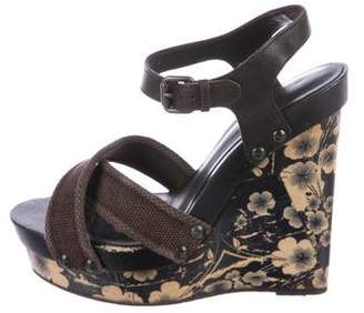 Bottega Veneta Canvas Platform Wedge Sandals