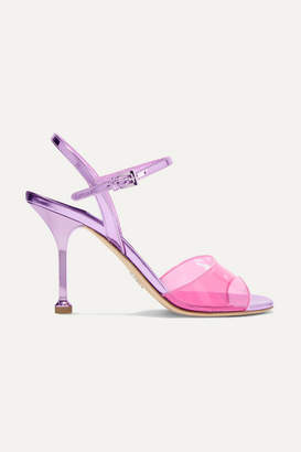 Prada Metallic Leather And Pvc Sandals - Pink