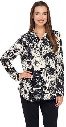 Liz Claiborne New York Rose Print Long Sleeve Blouse