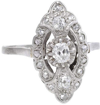 One Kings Lane Vintage Art Deco Platinum Diamond Navette Ring - Precious & Rare Pieces