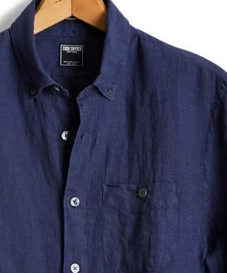 Todd Snyder Slim Fit Linen Indigo Button Down Pocket in Navy