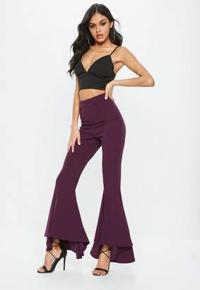 Missguided Tall Purple Asymmetrical Extreme Flared Pants