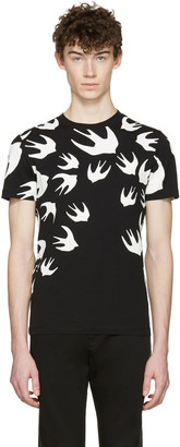 McQ Alexander Mcqueen Black Swallows T-Shirt $185 thestylecure.com