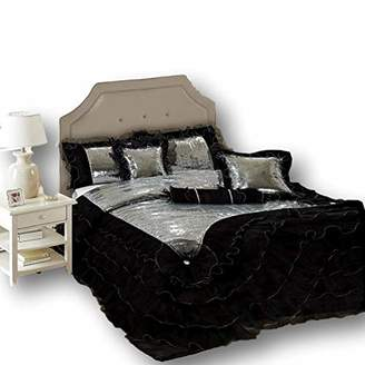 Tache Home Fashion VE1622-K Black Ruffles Bedding Luxurious Silver Sequin ((6 Piece) Comforter Set