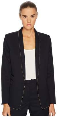 The Kooples Permanent Basic Jacket with Gun Metal Beaded Braid Details Women's Coat
