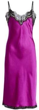 Alexander Wang Women's Lace Trim Silk Slip Dress - Fuchsia - Size 2