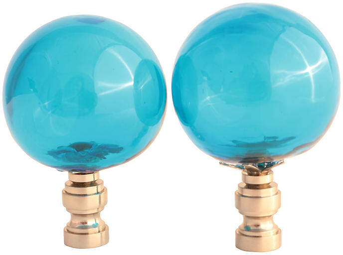 One Kings Lane Vintage Blown Glass Lamp Finials - Set of 2 - Pythagoras Place