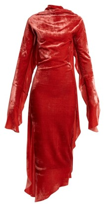 Paula Knorr - Relief Waterfall Ruffled Silk Blend Velvet Dress - Womens - Pink
