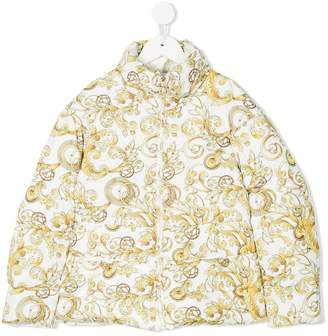 Versace Baroque print padded coat