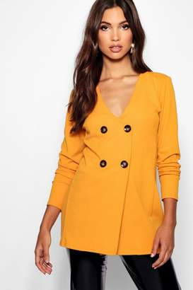 boohoo Tall Mock Horn Button Detail Blazer