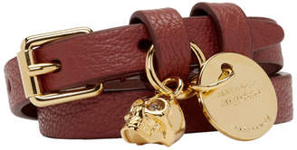 Alexander McQueen Red and Gold Double Wrap Bracelet