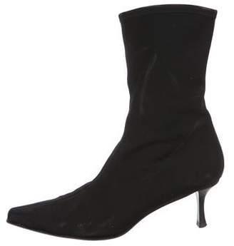 Stuart Weitzman Canvas Square-Toe Ankle Boots