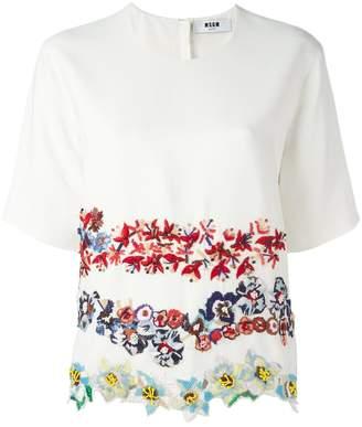 Buy Cheap Original Pick A Best For Sale Msgm Woman Printed Lace T-shirt White Size 40 Msgm 6CCqvtCP