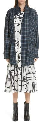 Balenciaga Plaid Overlay Silk Dress