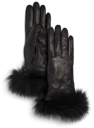 Bloomingdale's Fox-Fur Trimmed Leather Gloves - 100% Exclusive