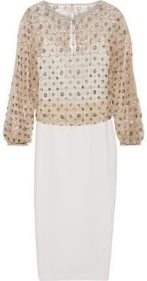 Rachel Gilbert Nora Layered Embellished Tulle And Crepe Midi Dress