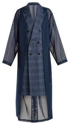 Toga Oversized Double Breasted Mesh Trench Coat - Womens - Navy
