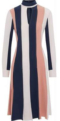 Derek Lam Cutout Striped Paneled Silk Crepe De Chine Dress
